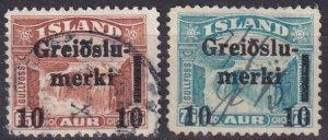 Iceland #174-5 F-VF Used Revenue Overprints (Z6461)