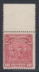 Colombia Sc 338 MNH. 1910 10p claret Independence Centenary, top value to set