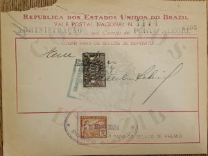 A) 1924, BRAZIL, NATIONAL POSTCARD, REVENUE STAMP, PORTO ALEGRE POST ADMINISTRAT