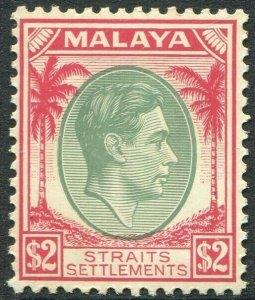 STRAITS SETTLEMENTS-1938 $2 Green & Scarlet Sg 291 toned gum LMM V50213