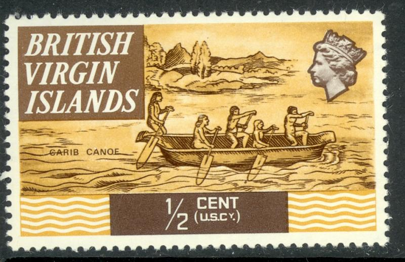BRITISH VIRGIN ISLANDS 1970 1/2c CARIB CANOE Ships Issue Scott No. 206 MNH