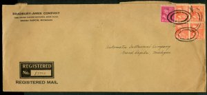 U.S. Scott 811 (4) and 806 Prexies on 1941 Registered Cover for Bradbury-Ames Co