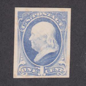 US Sc 156P4 MNG. 1873 1c ultra Franklin, Plate Proof on Card