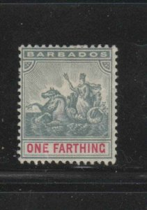 BARBADOS #70  1896  1f     BADGE OF THE COLONY  MINT  F-VF  HR  O.G  dd