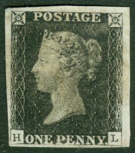 EDW1949SELL : GREAT BRITAIN 1840 Scott #1 XF, Mint No Gum. Fresh Cat $11,000
