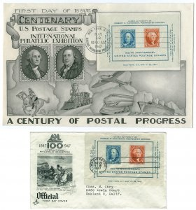 Scott 948 1947 5c & 10c Centenary Large and Normal First Day Covers Cat $9.00