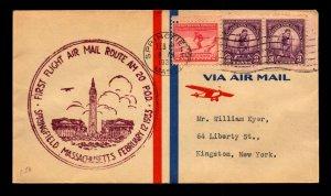 US 1933 AM 20 (E19) First Flight Cover / Springfield MASS - L7473