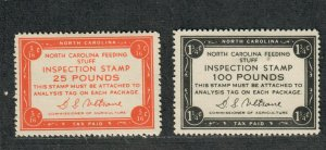 North Carolina State Revenue Stamp Sc#FE128+FE129 M/H/VF, Cv. $55