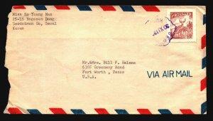 Korea 1960? Cover to USA / Airmail / Light Fold - Z17039