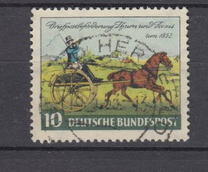 J28707, 1952 germany set of 1 used #692 horse and wagon