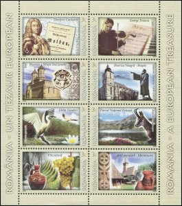 Romania 2009 Sc 5131 Bird Egret Wine Pottery Music Statue CV $17