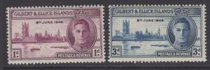 GILBERT & ELLICE IS. SG55/6 1946 VICTORY MTD MINT