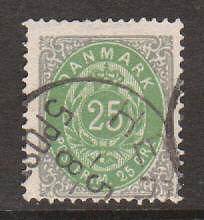 Denmark Sc 32 used 1875-79 25ö gray & green F-VF