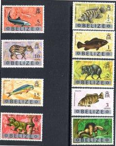 BELIZE 312-320 MNH SCV $2.45 BIN $1.45 ANIMALS, FISH