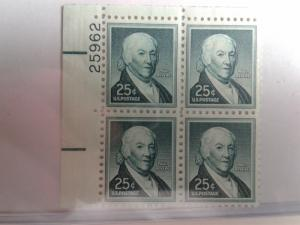 SCOTT # 1048 PLATE BLOCK OF MINT NEVER HINGED GEM. VERY NICE