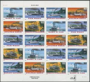 #3095b STEAMBOATS SPECIAL CUTTING OMITTED ERROR PANE OF 20 BR9573