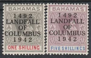 BAHAMAS 1942 KGVI COLUMBUS 450 YEARS 1/- AND 5/- MNH **
