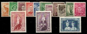 AUSTRALIA SG164/78 1937-8 p13 DEFINITIVE SET MTD MINT