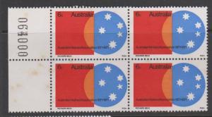 Australia 1971 Natives Association 6c Sc#496 Plate Block of 4 MNH