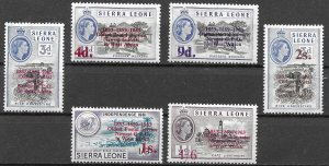 Sierra Leone Oldest Postal Services surcharged set of 1963, Scott 251-256 MNH