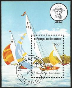 G)1982 IVORY COAST, SAIL BOATS, SCOUTS SAILING, SCOUTING YEAR S/S, CTO