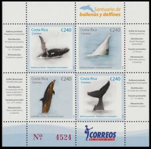 Costa Rica Whales and Dolphins sanctuary MS SG#1870-1873 MI#1791-1794