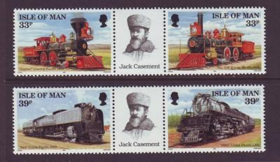 Isle of Man Sc 514-17 1992 Union Pacific RR stamps NH