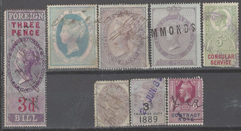 COLLECTION LOT # 2376 GREAT BRITAIN 8 REVENUE STAMPS