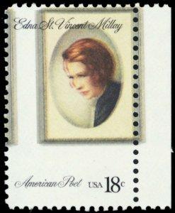 1926, Mint NH Color Shift Error 18¢ Millay Stamp - Stuart Katz