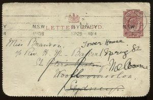 New Zealand KEVII 1909 1d part letter card to Australia