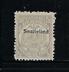 SWAZILAND SCOTT #1 1889 1/2P (GRAY) (BLACK OVERPRINT) -MINT EXTRA  LIGHT HINGED