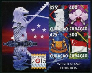 HERRICKSTAMP NEW ISSUES CURACAO Sc.# 244 Singapore 2015 Stamp Exhibition