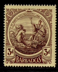 BARBADOS GV SG186a, 3d purple/yellow, NH MINT. Cat £45.