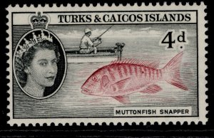 TURKS & CAICOS ISLANDS QEII SG242, 4d lake & black, NH MINT.