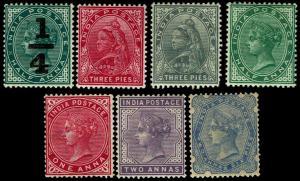 1898-1900 India #53-59 QV Watermark 39 - Most OGLH - VF - CV$39.20 (ESP#3841)