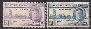 Mauritius 1946 KGV1 Set of Victory Umm SG 264 – 265 ( D241 )