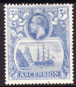 1924 Ascension King George V KGV 3p Badge of the Colony MMH Sc# 14 CV $10.00