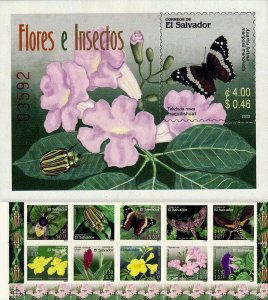 EL SALVADOR INSECTS and FLOWERS, 10v + S/S Sc 1587-1588 MNH 2003