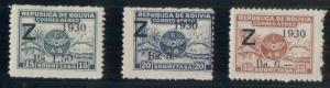 BOLIVIA #C24-6, Complete Zeppelin set, og, LH, VF, Scott $240.00