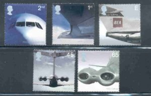 Great Britain Sc 2048-52 2002 Jet Airplanes stamp set mint NH