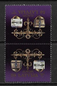 1994 Latvia 380  Europa 50s MNH Tete beche pair SCV$7.00