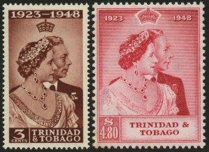 TRINIDAD & TOBAGO-1948 Royal Silver Wedding Set Sg 259-260 L MOUNTED MINT V48606