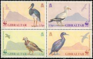 1991 Gibraltar #594a, Complete Set, Block of 4, Never Hinged