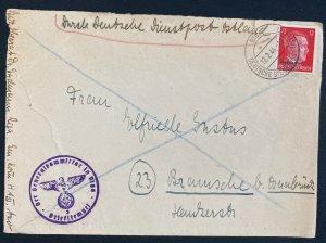 1944 Riga Latvia Ostland Germany Diesntpost cover To Braunschweig