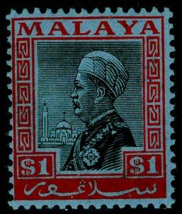 MALAYSIA - Selangor SG83, $1 black & rose/blue, NH MINT. Cat £14.