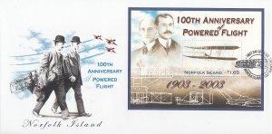 Norfolk Island 2003 FDC Sc #804 Souvenir sheet $1.65 100th Anniversary of Pow...