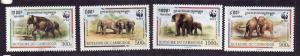 Cambodia-Sc#1597a-d-Unused NH set-1997-WWF-Animals-