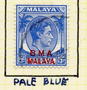 Malaya Straights Settlements 1945 Early Shade of Used 15c. BMA Optd 308006