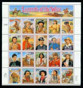 US Scott 2869 29c Legends of the West  Mint NH pane of 20