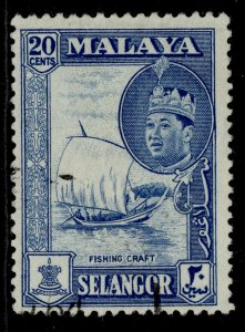 MALAYSIA - Selangor QEII SG135, 20c blue, FINE USED.